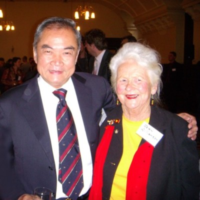 Jean Williamson with Melbourne Lord Mayor John So